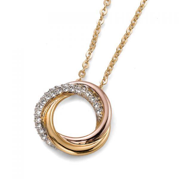 Изящная подвеска колье Unite rhod., gold crystal